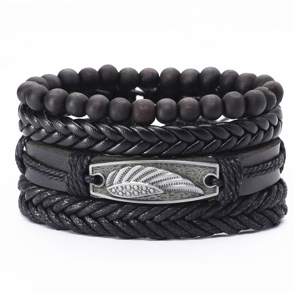 New 4 Pcs/set Guitar Cross Leaf Charm Weave Leather Men Bracelets For Women Homme Femme Male Jewelry free shipping