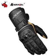 Kerakoll real couro da motocicleta luvas de inverno dos homens longo pulso de corrida motocross rali luva luvas moto guantes