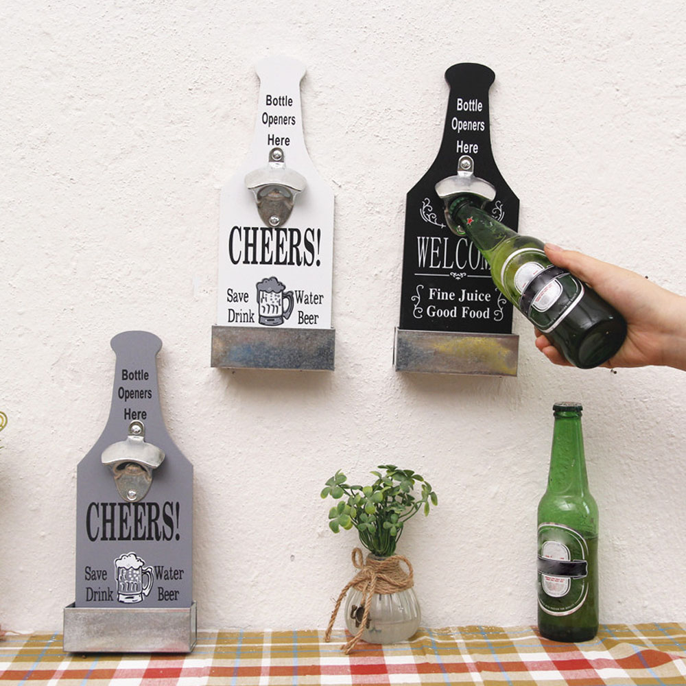 Creative Bottle Opener Beer Bottle Opener Wall Mounted Wood Wall Mounted Vintage Home Bar Restaurant Decoration