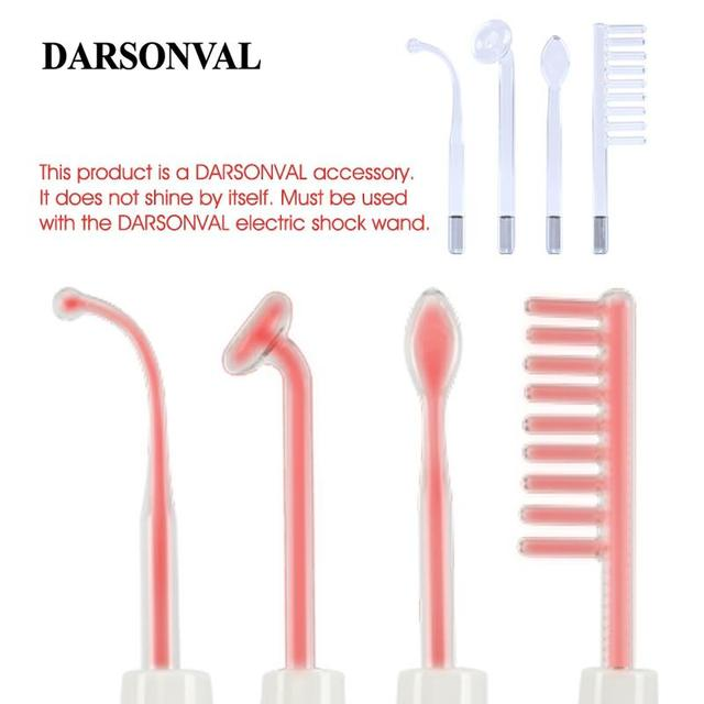 DARSONVAL 4 pièces haute fréquence Tubes en verre du visage masseur de cheveux électrode baguette remplacement acné détachant Orange Ray soins du visage