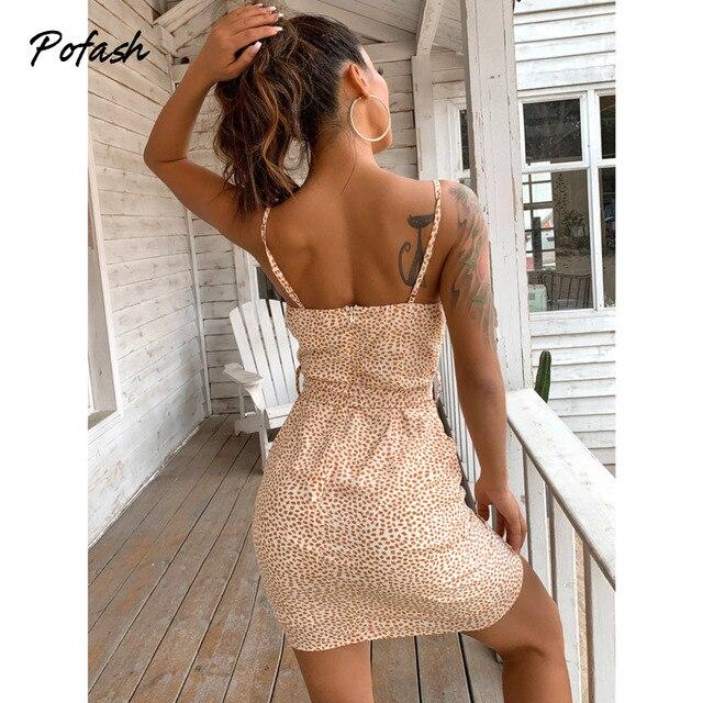 Pofash Spaghetti Strap Summer Dresses Women V Neck Backless Sexy Wrap Bow Bodycon Dress Polka Dot Sleeveless Mini Vestidos 2021 2