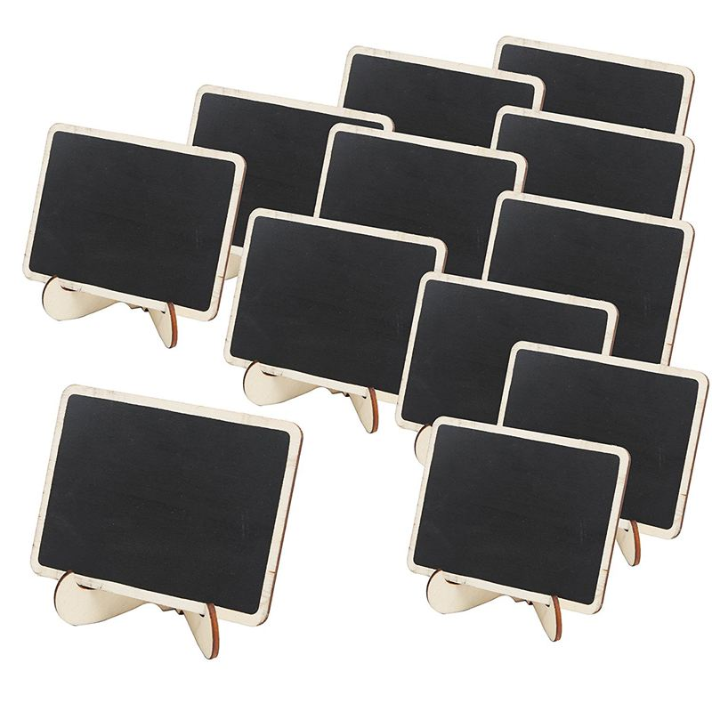 Mini Wooden Framed Table Number Chalkboard Signs With Stand, Pack Of 12