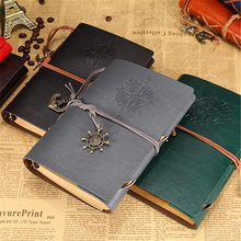 Retro Spiral Loose Leaf Notebook Diary Notepad Vintage Pirate Anchor Leather Note Book Stationery Gifts Office Stationery Supply