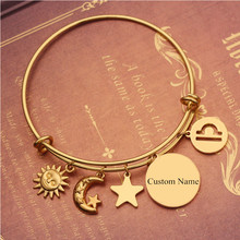 HIYONG Personalized Twelve Constellations Custom Bracelet Gold Bangles for Women Engraved Jewelry Bangle Gifts