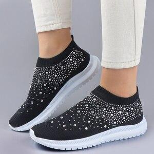 Image 3 - أحذية مفلكنة أحذية رياضية للنساء المدربين محبوك أحذية رياضية السيدات الانزلاق على جورب أحذية سباركلي كريستال Zapatillas Mujer عادية