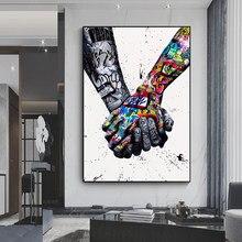 Amor graffiti arte mão posters e impressões na lona pintura rua arte da parede imagem para sala de estar decoração casa sem moldura