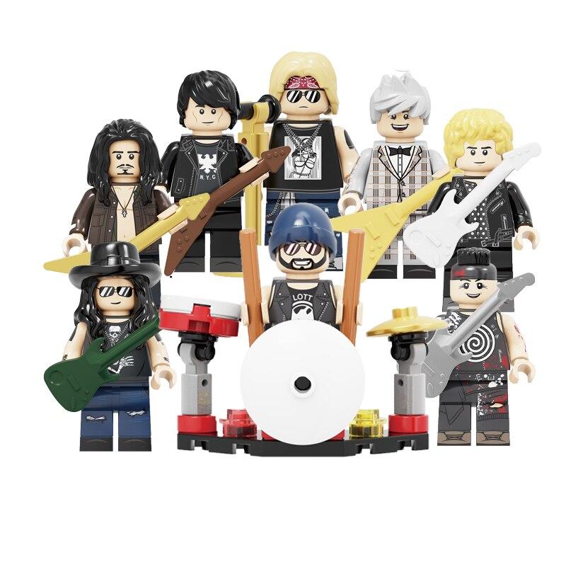 Building Blocks Rock Band Guns N' Roses Axl Rose DJ Ashba Tommy Stinson Frank Ferrer Liebherr Figures Toys For Children KF6105