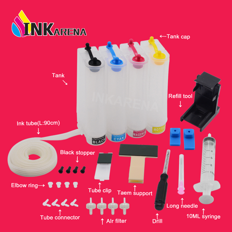 INKARENA Ciss Ink Kits Replacement For HP 302 302 XL Deskjet 2130 1112 3630 3632 Officejet 4650 4652 4655 ENVY 4516 4520 Printer