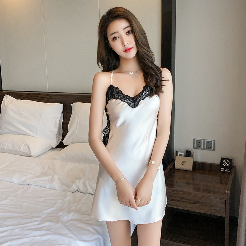 Pajamas Female Summer Korean-style Viscose Sexy Backless Lace Nightgown Spring And Autumn Imitated Silk Fabric Camisole Thin Hom