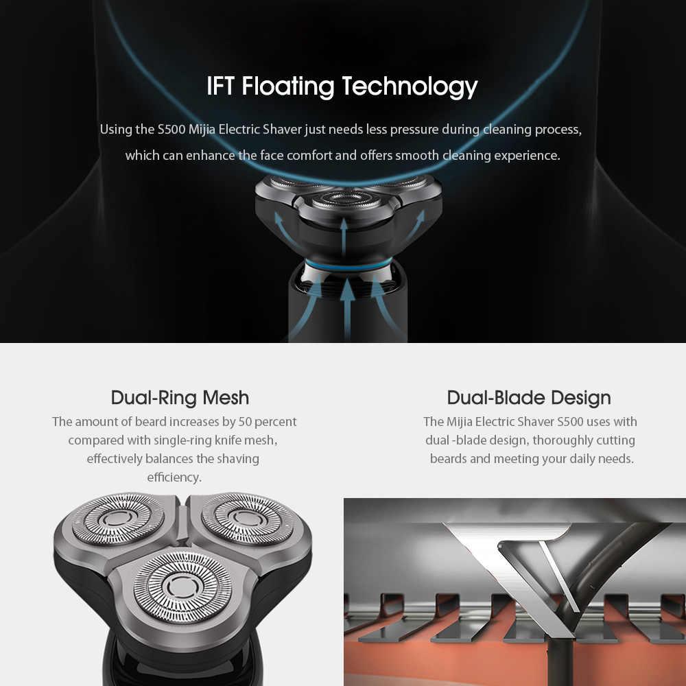 Xiaomi Mijia חשמלי מכונת גילוח S500 עמיד למים גברים זקן גילוח 3 ראש להגמיש יבש רטוב רחיץ כפולה להב נוח נקי מכונה