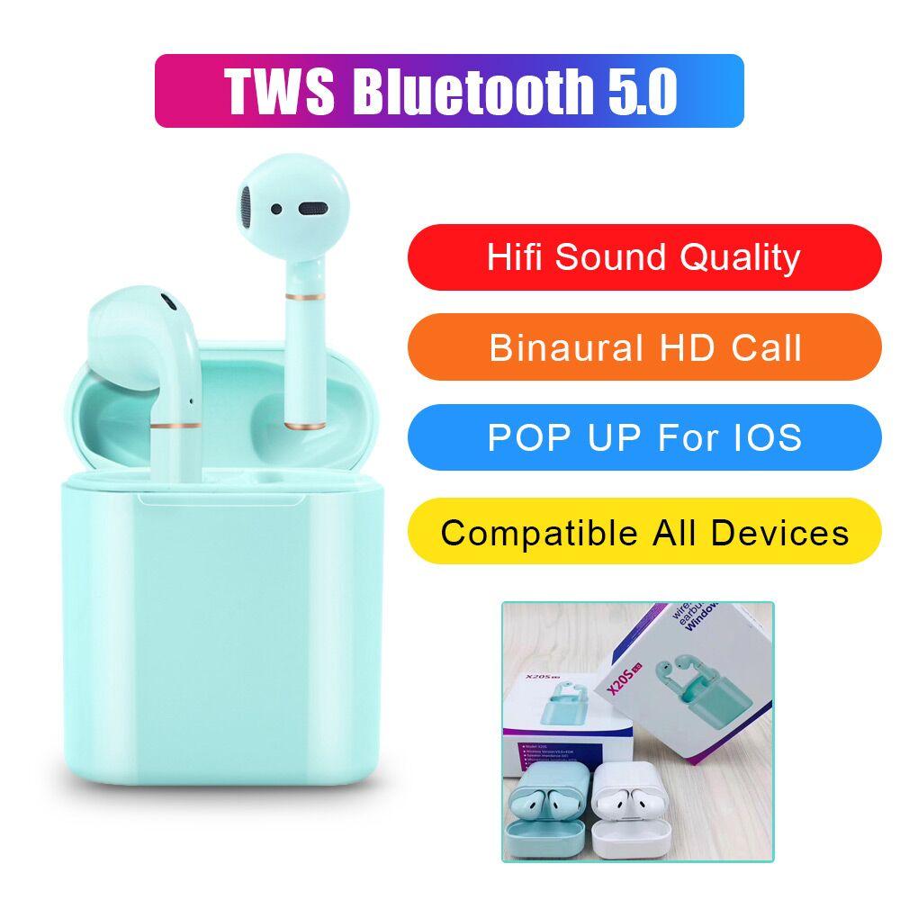 TWS Bluetooth Wireless V5.0 Bluetooth Stereo Earbuds Sport Headphone POP Up Window Waterproof Headset For Phone PK Honor Flypods