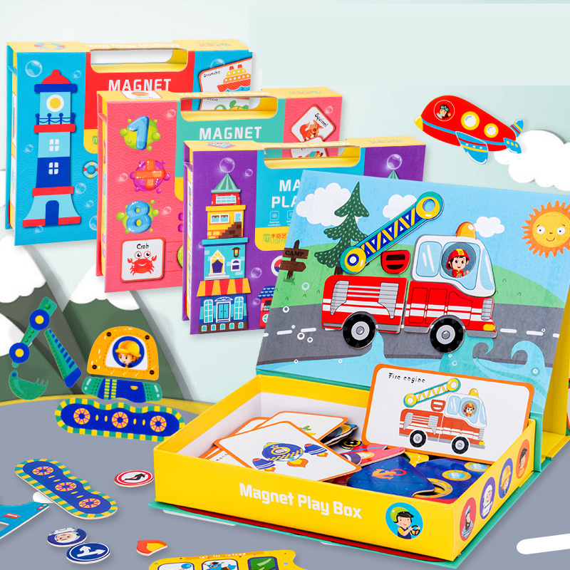 Magnetic Cartoon Puzzle 3D Traffic Matching Jigsaw Games Toy Early Learning Traffic Puzzles Educational Toys For Child Kids Gift