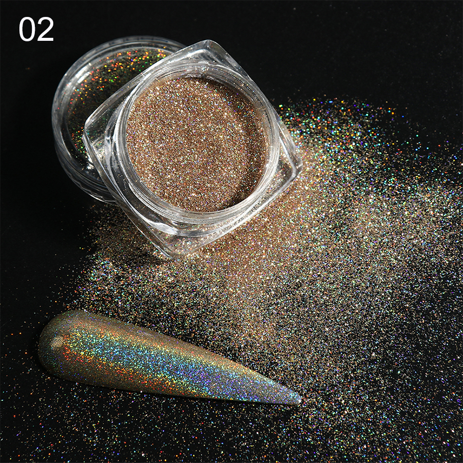 Holographic Nail Glitter Powder Laser Dipping Sequins Pigment Nail Art Gradient Mirror Chrome Dust Shining Polish Flakes BE1028-2 (6)