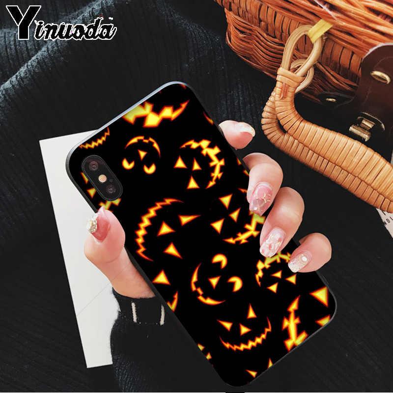 Yinuoda Bí Ngô Halloween Dơi Đen TPU Cao Su Mềm Điện Thoại Cho Iphone X XS Max 6 6S 7 7plus 8 8Plus 5 5S XR 11 11pro