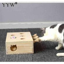 Cat Toys Pet Indoor Solid Wooden Hunting Toy Interactive 5-Holed Mouse Seat Scratch Cats Play Best Gift