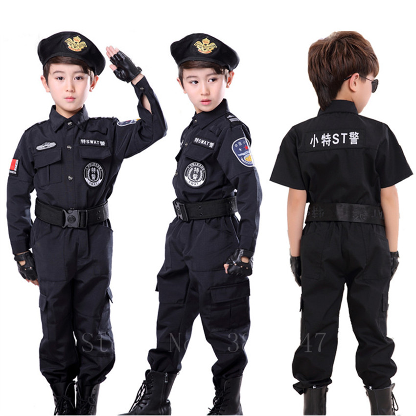 Children Halloween Carnival Policeman Costume Fancy Boys Short&Long Police Force Uniform Cosplay Party Military SWAT Suit