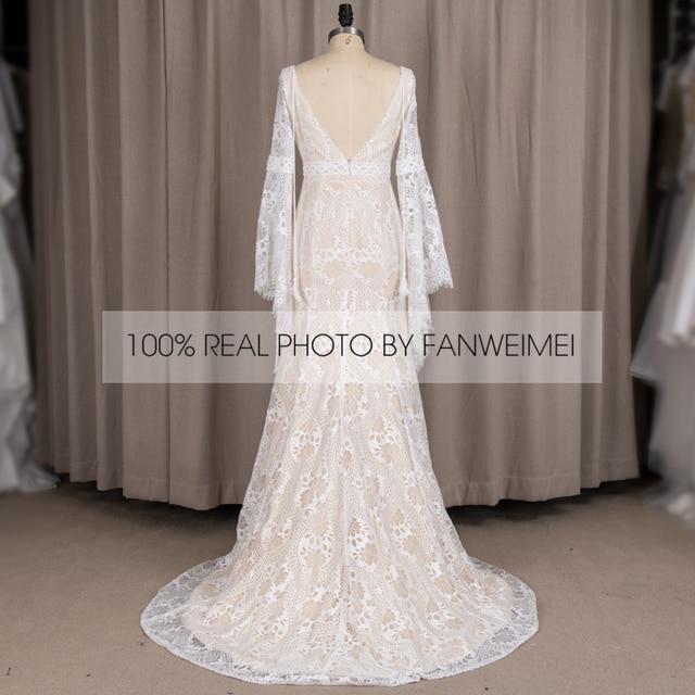 803#2021 New Design Long Lantern Sleeve Empire V-Neck Backless Small Train Beauty Backless Lace Boho Beach Wedding Dresses Women 6
