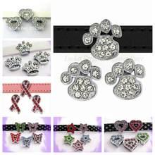 100 pièces 10mm strass étoile couronne papillon coeur patte croix os ruban glisser breloques ajustement pour 10mm Bracelet collier pour animaux de compagnie Bracelet