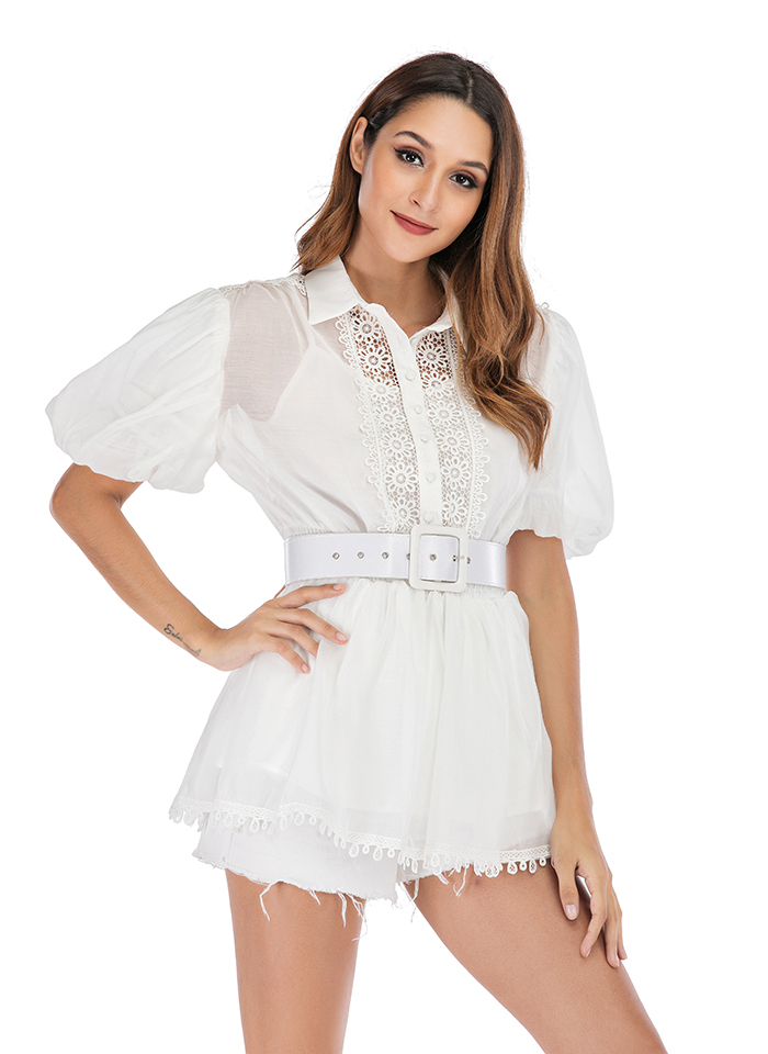 2019 Women White Lace Short Sleeve See Through Puff Blouse Shirts With Belts Black Beach Dress Party Club Sexy Clubwear