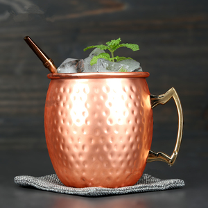 Image 4 - 4 Pieces 550ml 18 Ounces Hammered Copper Plated Moscow Mule Mug Beer Cup Coffee Cup Mug Copper Plated