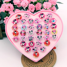 36Pcs Kids Mickey Cartoon LOL Toy Rings Cute Baby Glitter Princess Dress Dolls Glass Dome Ring for Birthday Gift DIY Ring Set(China)