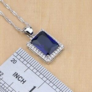 Image 3 - 925 סטרלינג תכשיטי כסף כחול זירקון לבן CZ תכשיטי סטים לנשים עגילים/תליון/שרשרת/טבעות/צמיד