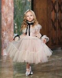 Новое розовое платье для маленьких девочек с длинными рукавами; Винтажные Детские платья в стиле ретро; Одежда для девочек; Рождественская ...