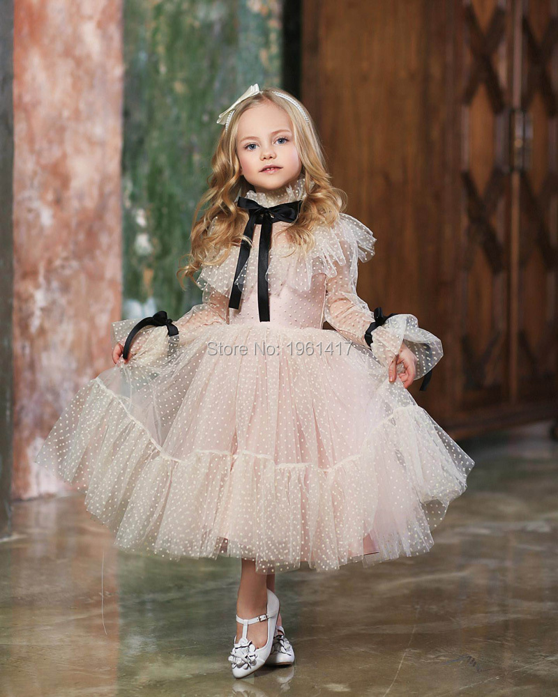 New Baby Girl Pink Dress Long Sleeve Lace Vintage Retro Kids Dresses For Girls Clothes Christmas Princess Children Clothes