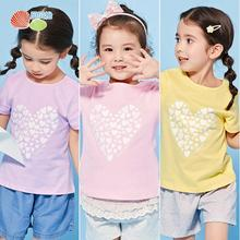 Bornbay Cotton Casual Short Sleeve T-shirt Baby Girl Summer Short Sleeve Top Sweet Candy 3 Color Love T-shirt Short Sleeve