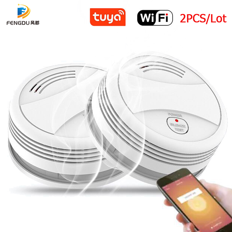 2PCS Fire Wifi Smoke Detector Wireless Smoke Detector Tuya APP Control Home Smoke Alarm WiFi Rookmelder датчик дыма