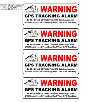 Volkrays 4 X Creative Car Sticker Warning Gps Tracking Alarm Accessories Reflective PVC Decal for Peugeot 308 Kia Rio,3cm*10cm image