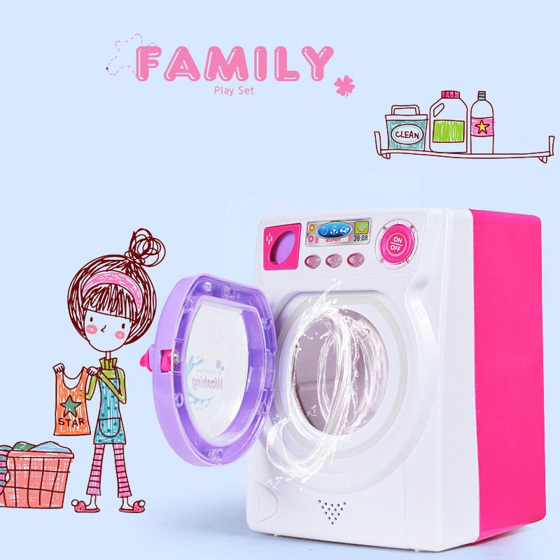 Eletronic Children Pretend Play Mini Roller washing machine With Sound and Lights emulational Water effluent Baby Girls Toy GIft