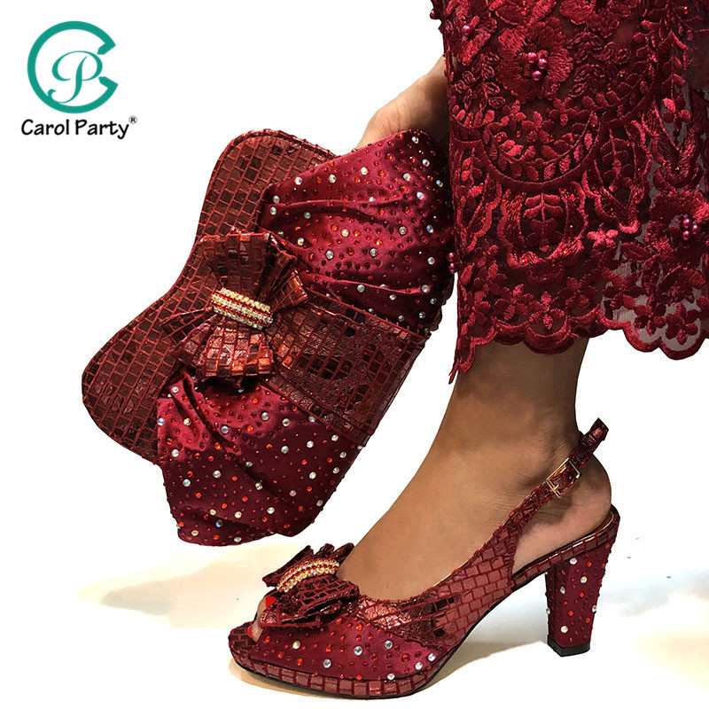 Vente chaude chaussures africaines et sac ensemble italien Design correspondant chaussures et sac ensemble nigérian pour la fête de mariage en couleur de vin
