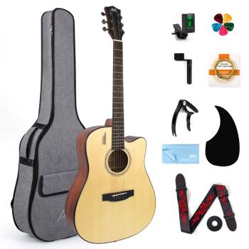 AKLOT Acoustic Guitar Spruce Full Size 41 inch for Student & Beginner w/ Gig Bag Tuner Strap Picks String Piezo Pickup Tools acoustic custom guitar 41 inch full size 6 string basswood with guitar kit from us