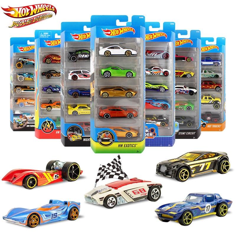 5pcs/pack Original Hot Wheels 1:64  Metal Mini Model Car Kids Toys For Children Diecast Brinquedos Hotwheels Birthday Gift c4982 action figure pokemon