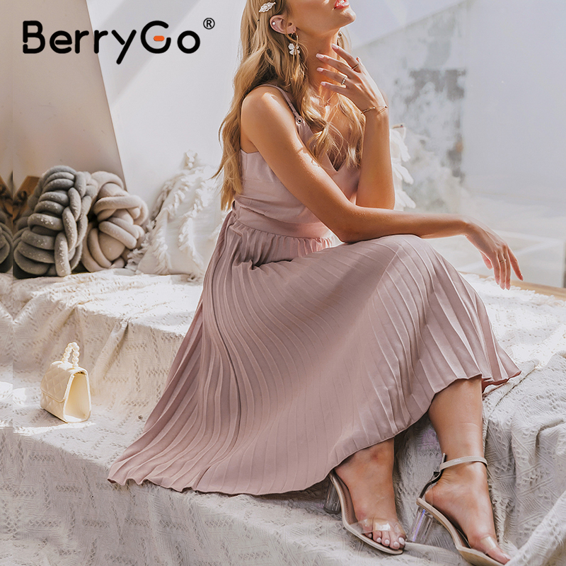 BerryGo Sexy spaghetti strap summer dress women A-line hot pink female pleated midi dress Casual office ladies party dresses 4