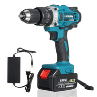 3 In 1 198VF Cordless Drill Impact Hammer Drill Electric Screwdriver With 1X Rechargeable Lithium Ion Battery 2 Speed Power Tool