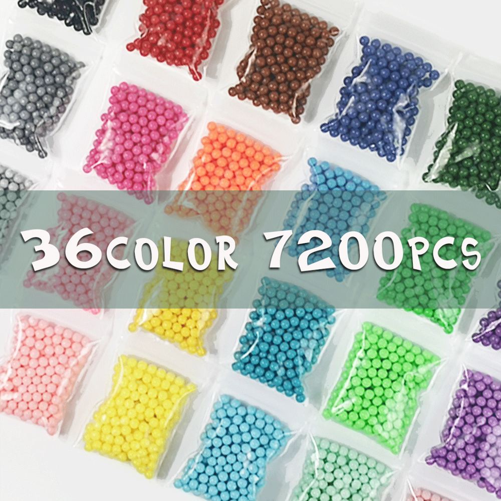 Yantjouet 7200pcs 36colors Magic Water Sticky Beads Children Beads Crystal Color Water Spray Puzzle For Kids Gift Toys