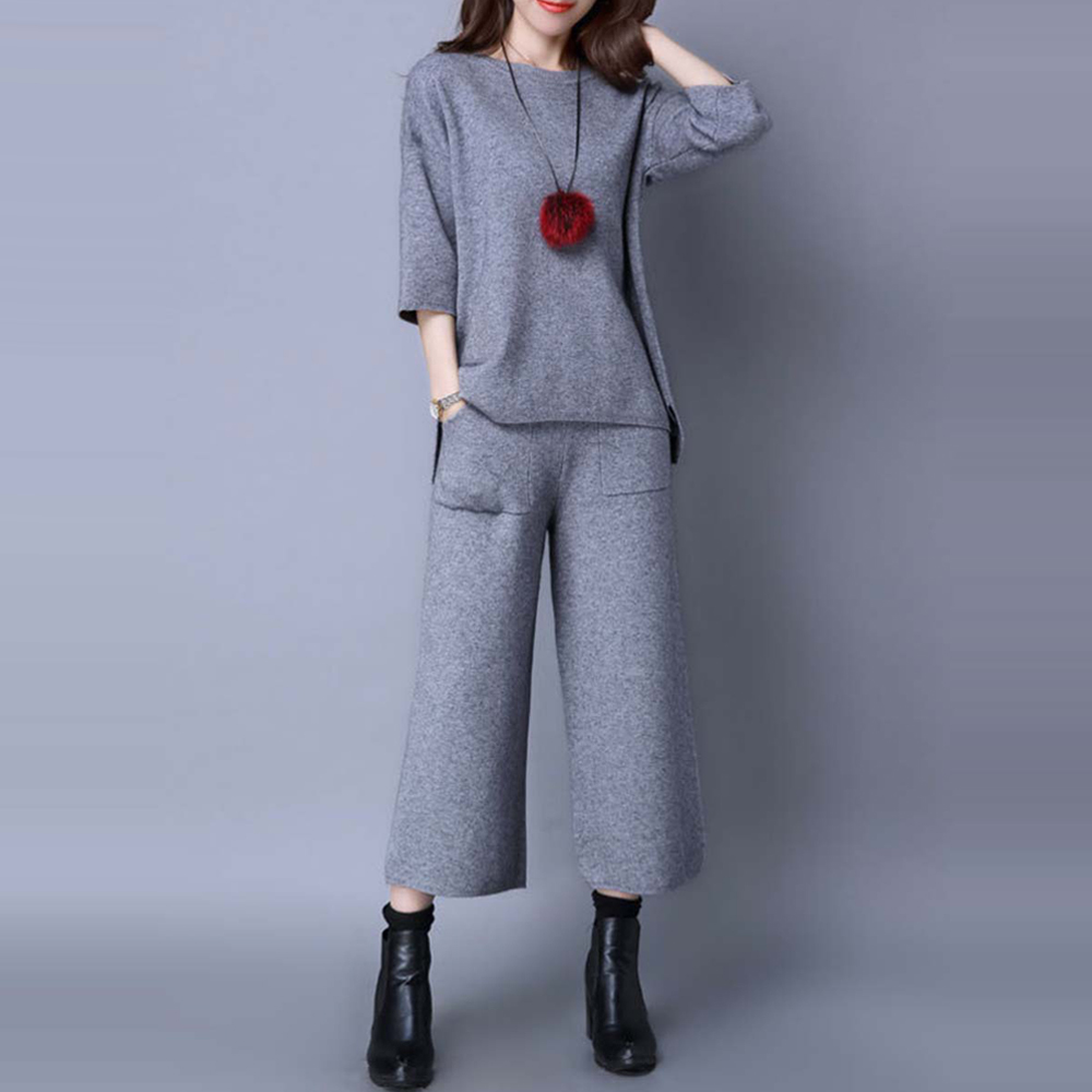 Women Two Piece Set 2019 Autumn Black Knitted T-shirt And Long Wide Legs Pants Suit Korean Office Ladies Causal 2 Pieces Suit