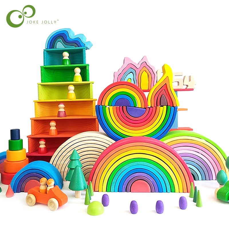 Большая Радужная деревянная игрушка для детей, креативные радужные строительные блоки Монтессори, развивающая игрушка для детей GYH
