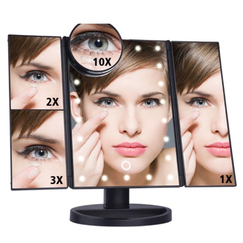 Illuminated Mirror Led Light Makeup Mirror With 22 Led Lamp Flexible Triple Fold Desktop Mirror Cosmetic Vanity Mirror Light