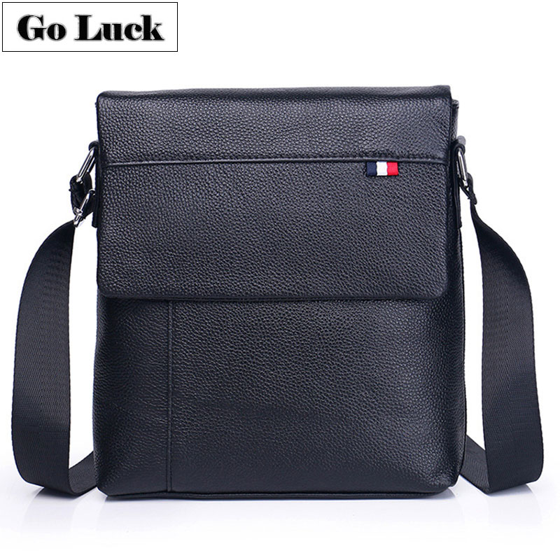 GO-LUCK Brand Classic Black Flap Bussiness Ipad Pack Genuine Leather Men Messenger Bag Men's Crossbody Shoulder Bags