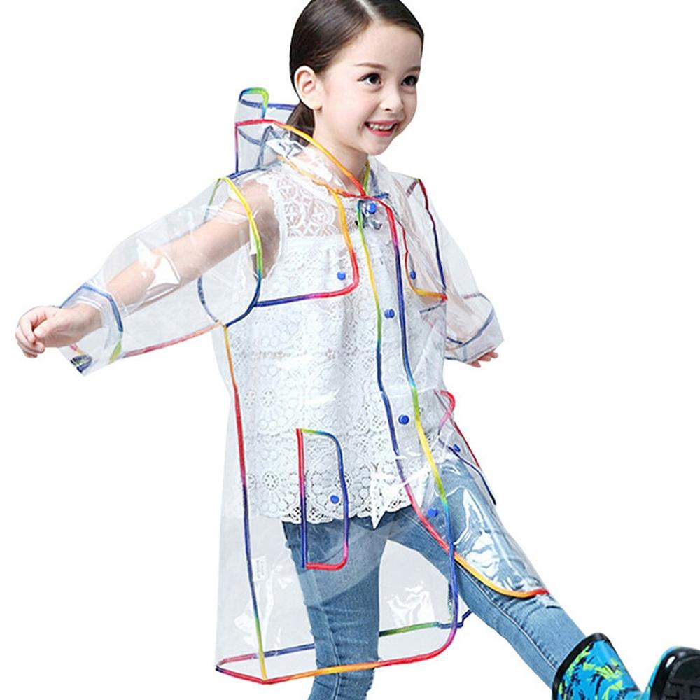 Children's <font><b>Girls</b></font> Boys Hooded Reusable Transparent Rainbow Thick Casual raincoat Kids <font><b>Waterproof</b></font> Windproof Rain Coat <font><b>Jacket</b></font> image