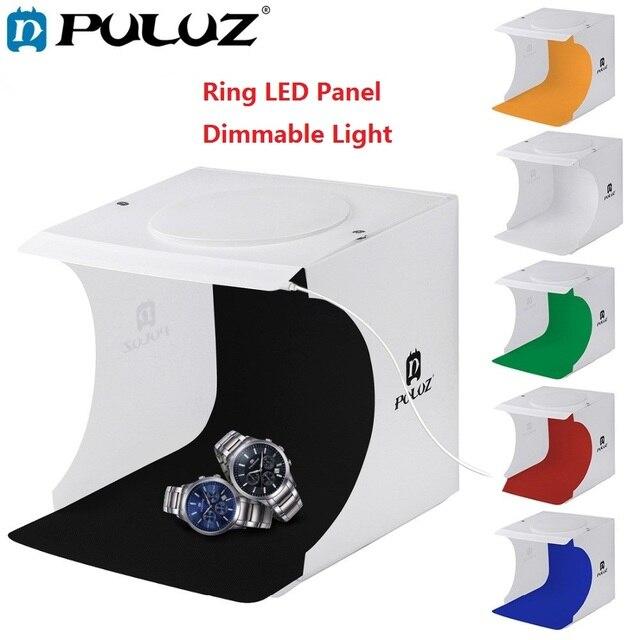 PULUZ 20cm Mini Estudio difuso caja de luz suave anillo LED Panel regulable luz mesa de rodaje foto estudio caja 6 fondos