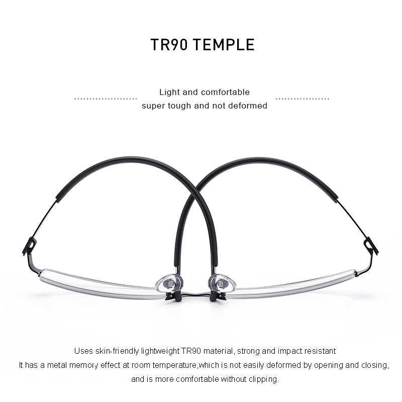 MERRYS DESIGN hommes titane alliage lunettes cadre demi-cadre optique myopie Prescription optique-lunetterie alliage caoutchouc Temples S2158