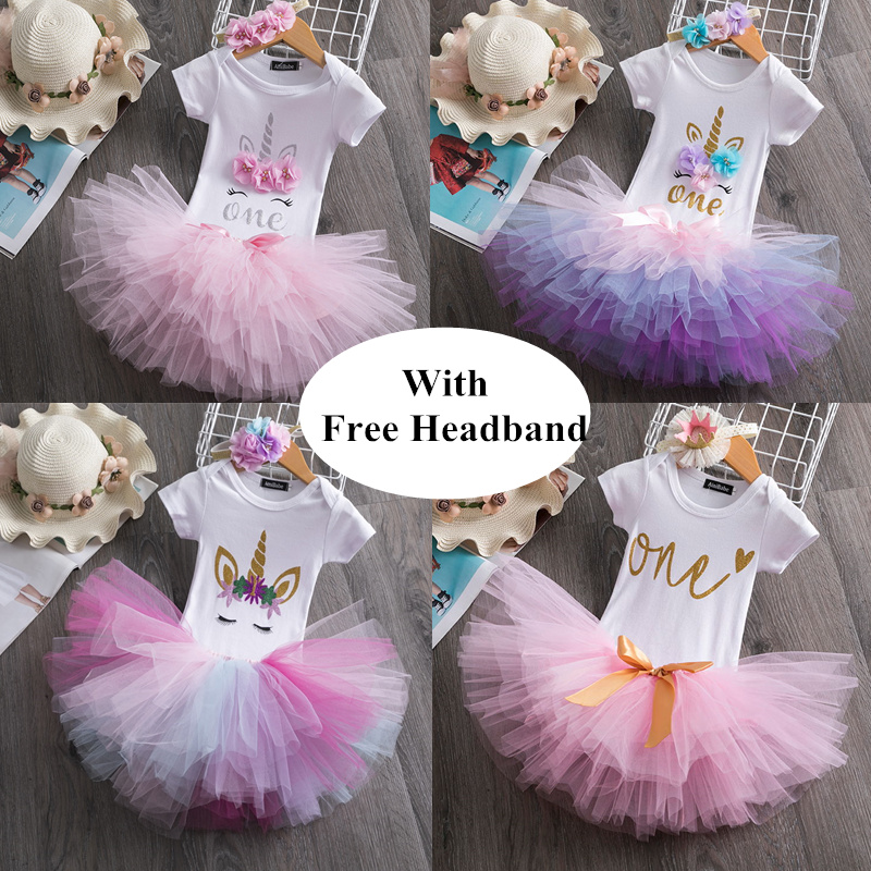 Baby Unicorn Dress For Girls 1 Year Birthday Clothes Infant Princess Dress Outfits Infantil Vestido Toddler Cotton Party Dress