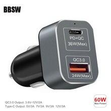 USB C شاحن 60 واط PD + تهمة سريعة 3.0 سريع سيارة شاحن آيفون 11 برو Xs ماكس 8 زائد ماك بوك سامسونج S10 + S9 نوت 8 10 Plus
