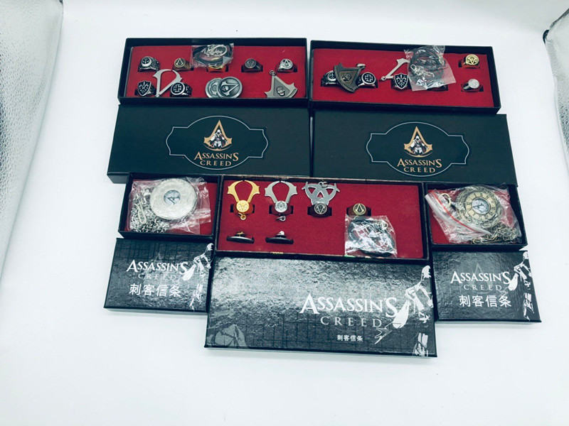 Assassin's Creed Ring Necklace Watch Set Collection Role Playing Toy Gifts