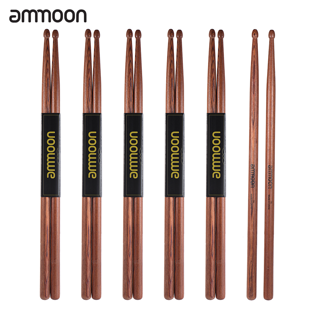Ammoon 3 Pair Of 5A Wooden Drumsticks Drum Sticks Mahogany Wood Drum Set Accessories
