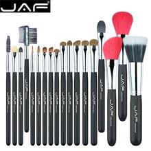 цена на JAF 18pcs Soft Natural Goat Hair Makeup Brushes Set Powder Angled Blush Contour Eye Shadow Lip Blending Brush Tool for Make Up